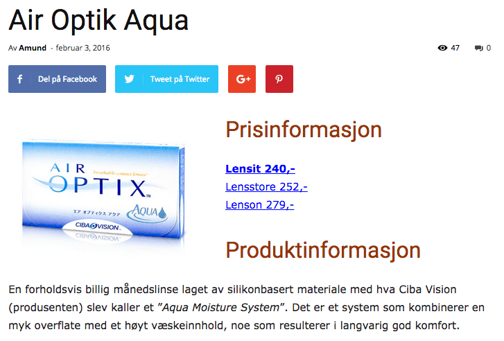 Prissammenligning for Air Optix Aqua.